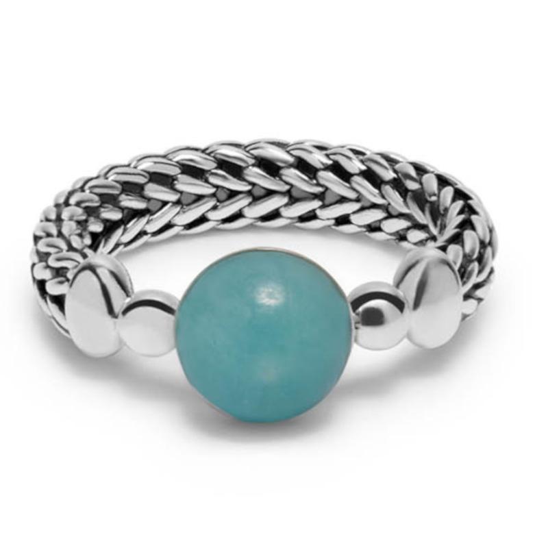 Buddha to Buddha 004GR Ring zilver Batas Sphere Stone Mint Maat 17,5