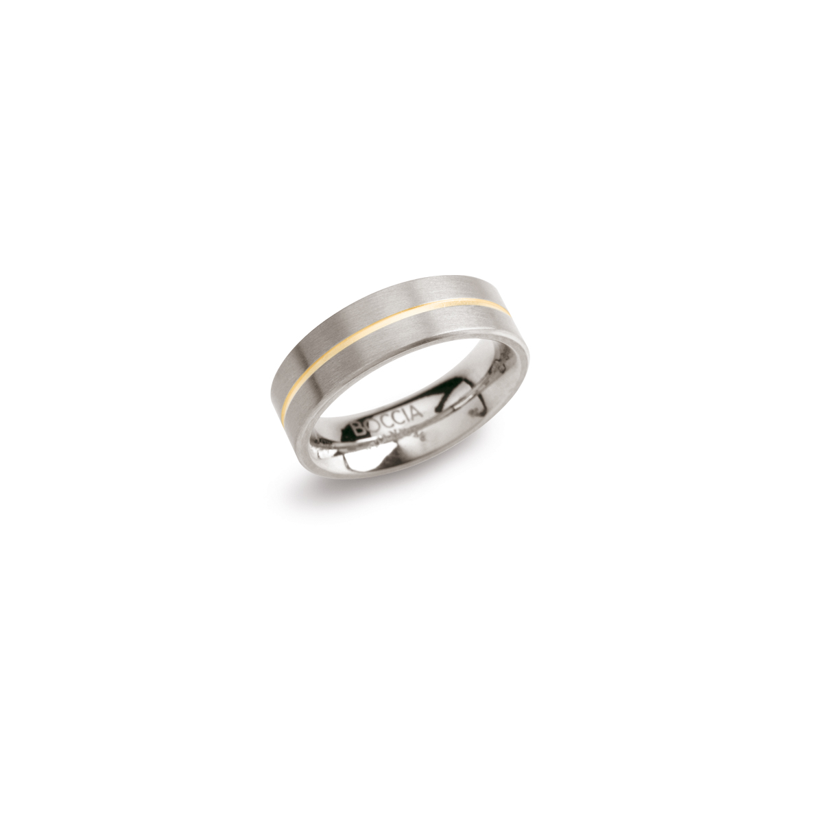 Boccia 0101-03 Ring Titanium zilver- en goudkleurig 6 mm Maat 62