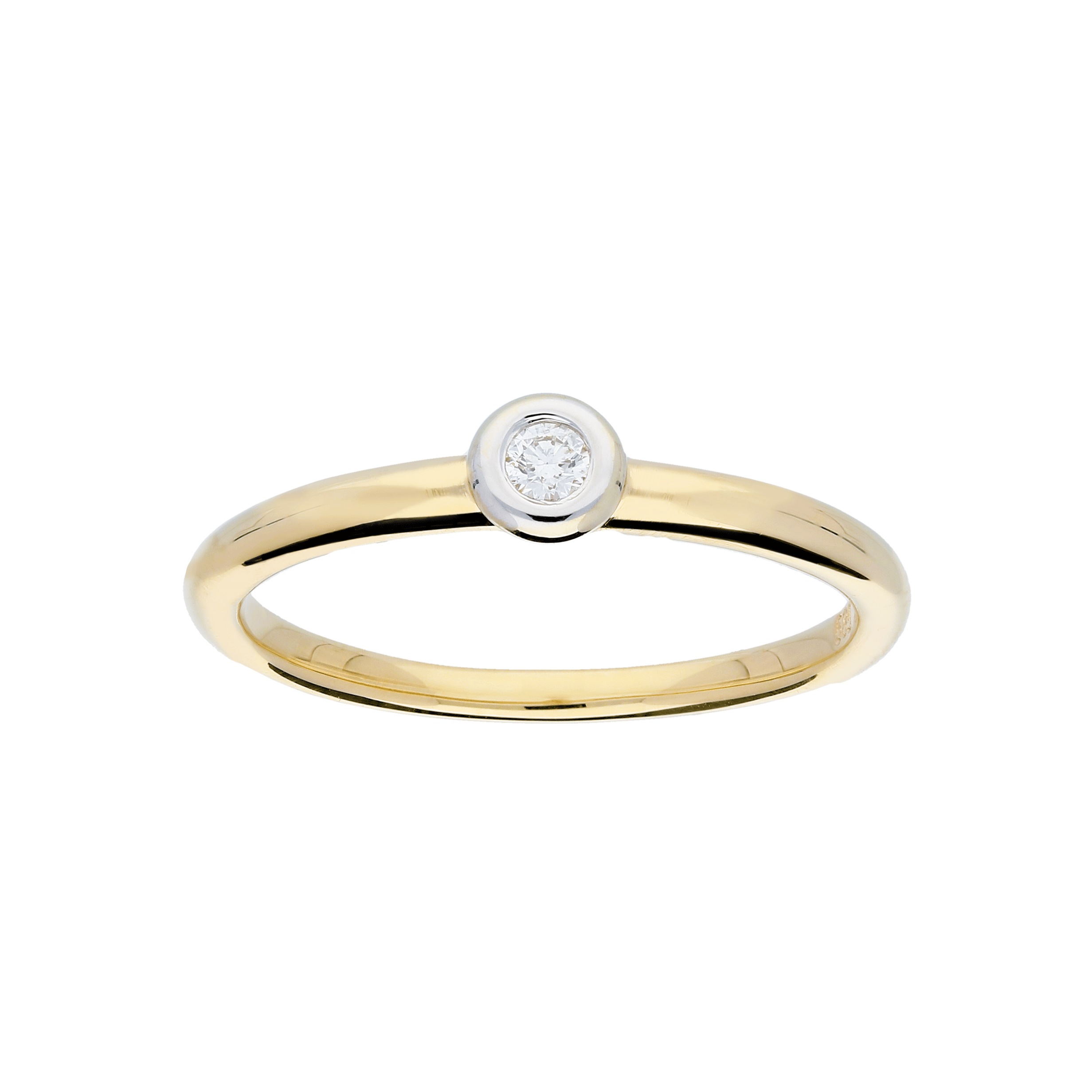 Glow Gouden Ring Bicolor Mat Glanzend Diamant 1 0.04ct G si 214.5201.56