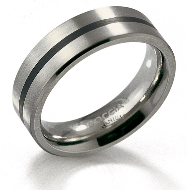 Boccia 0101 14 Ring Titanium Emaille zilverkleurig zwart 6 mm Maat 67