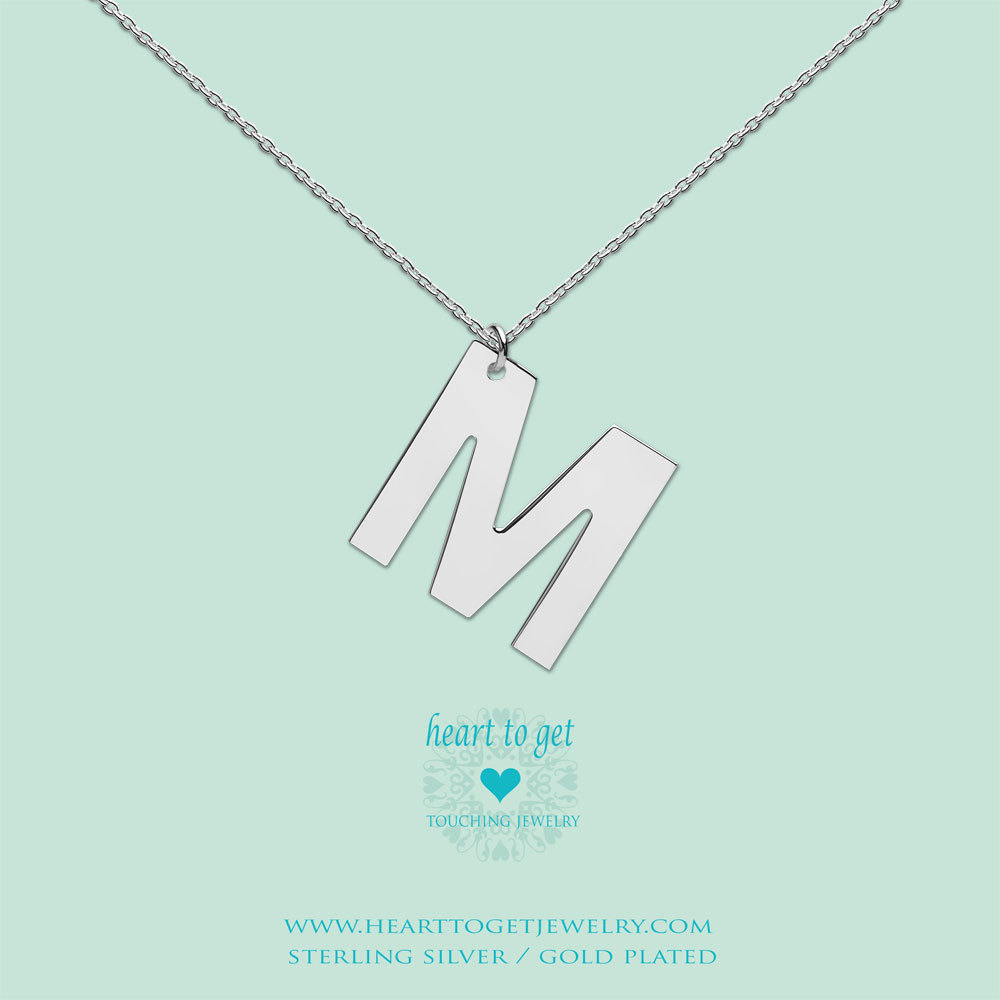 Heart to get LB154INM16S Ketting zilver Big Initial letter M 40-48 cm