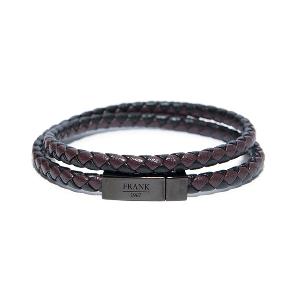 Frank 1967 Armband Leder-Staal bruin-zwart one-size 7FB-0155
