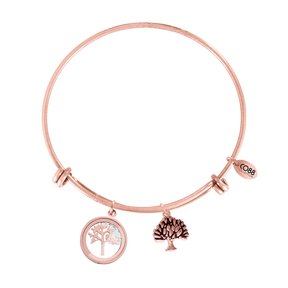CO88 Armband 'Levensboom' staal-rosékleurig, all-size 8CB-12065