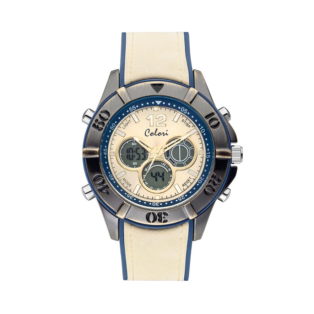 Colori Timber 5 CLD091 Digitaal Horloge - Siliconen Band - Ø 49 mm - Creme - Blauw
