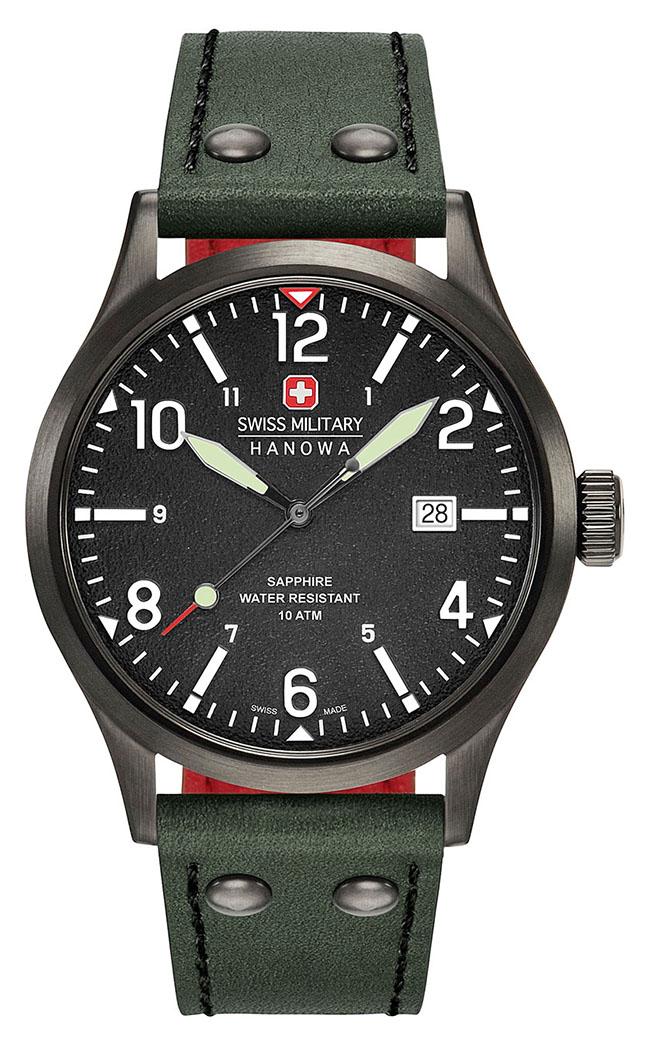 Swiss Military Hanowa 06-4280.13.007.06 horloge heren - groen - edelstaal PVD zwart