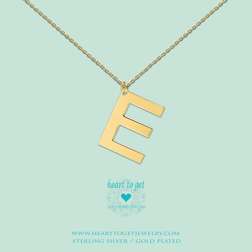 Heart to get LB146INE16G Ketting Big Initial letter E zilver goudkleurig