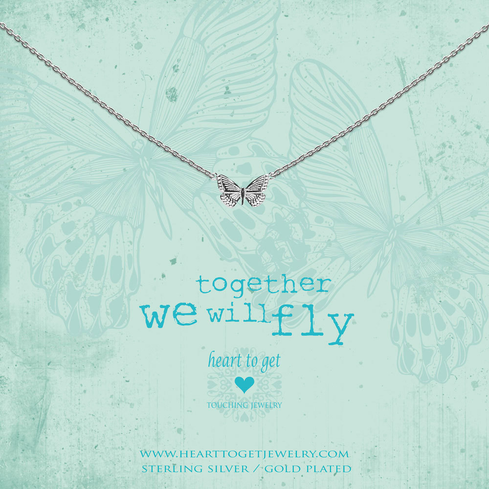 Heart to get N359BUT17S Ketting Butterfly Together zilver 40-44 cm