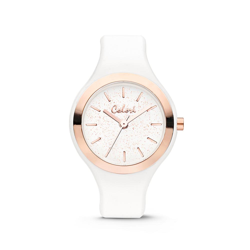 Colori Macaron 5 COL576 Horloge - Siliconen Band - Ø 30 mm - Wit - Rosekleurig