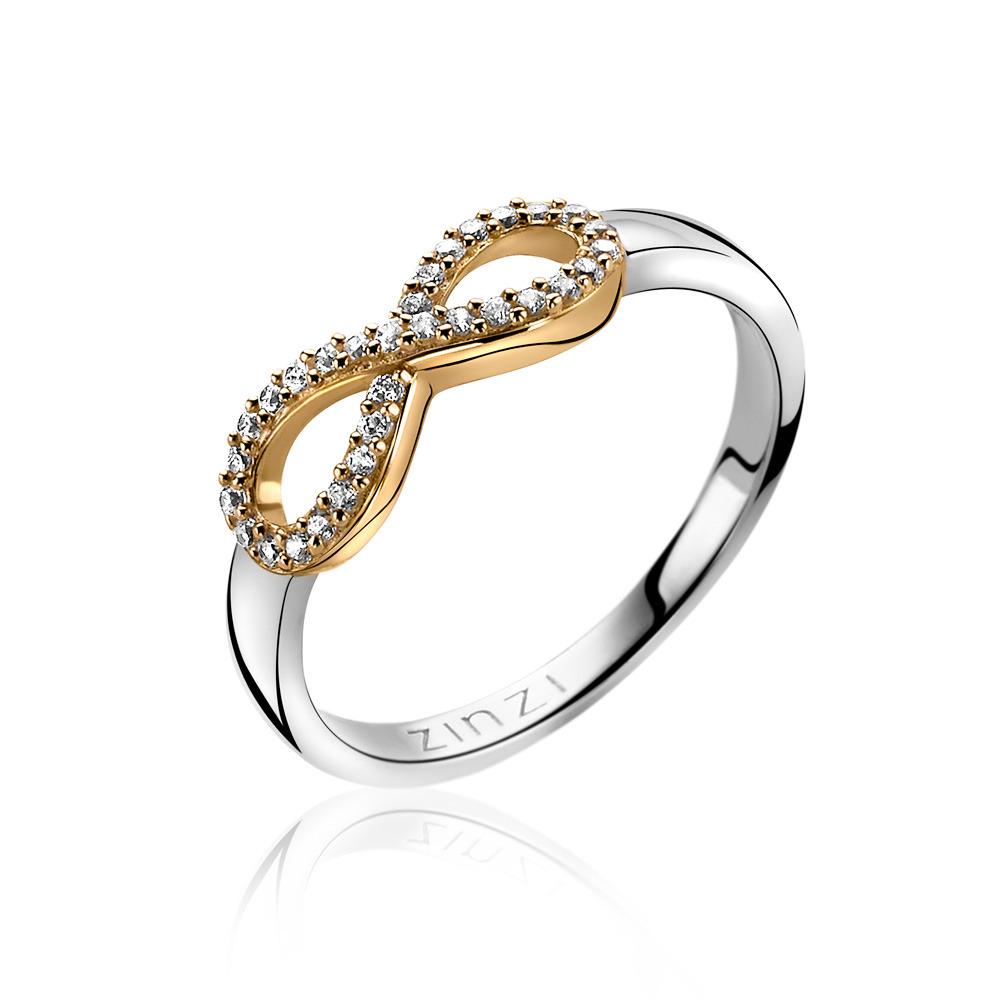 Zinzi ZIR1065Y Ring Infinity zilver met zirconia zilver en goudkleurig Maat 54