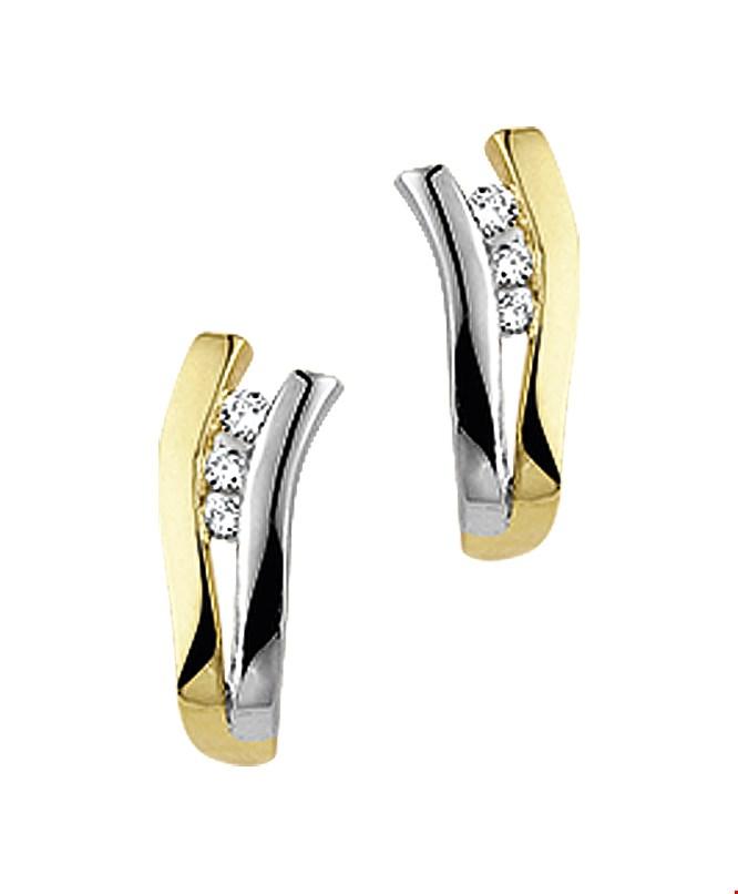 TFT Stekercreolen Diamant0.082 (2x0.041) H P1 Bicolor Goud Glanzend