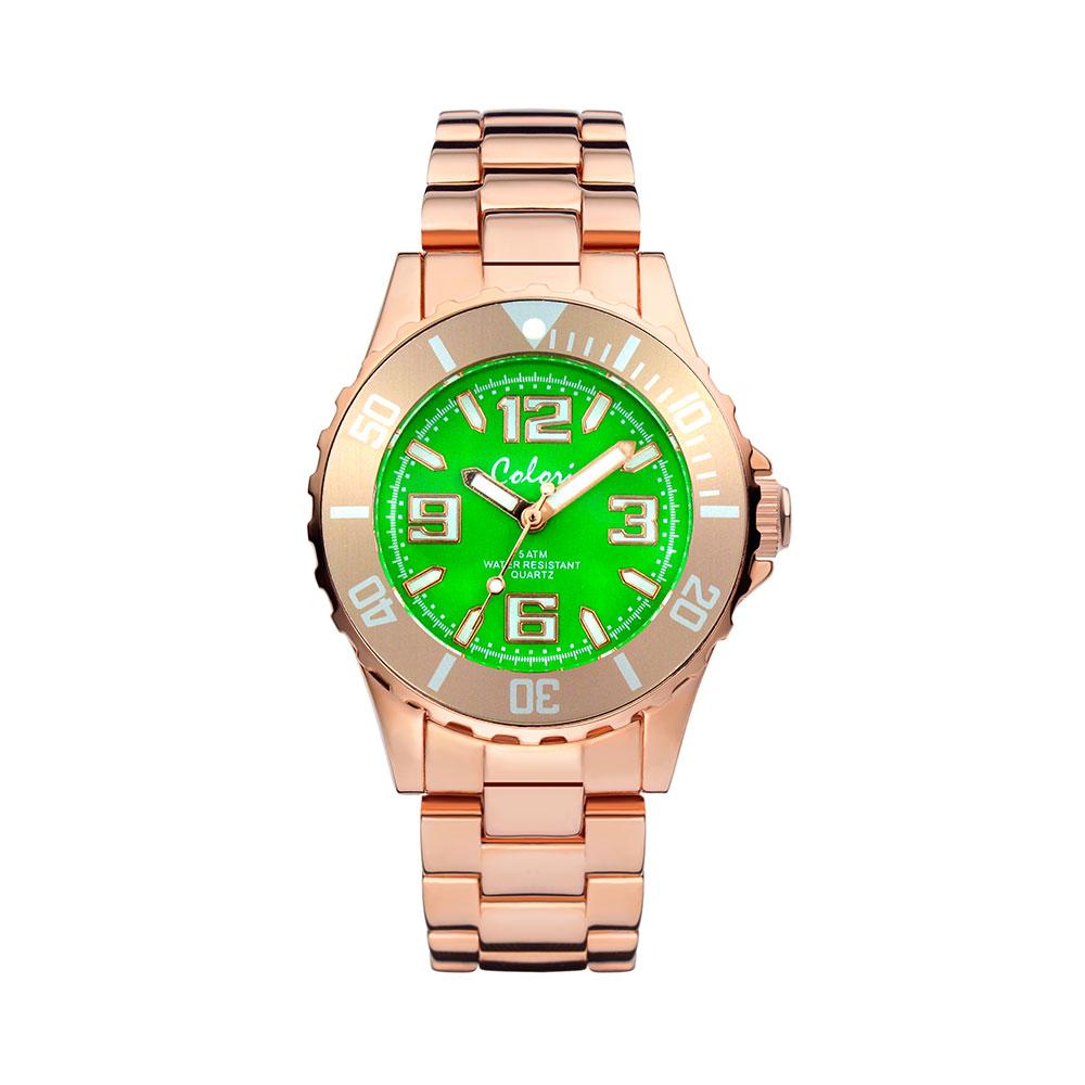 Colori Pure metal 5 COL279 Horloge rosekleurig-groen 33 mm