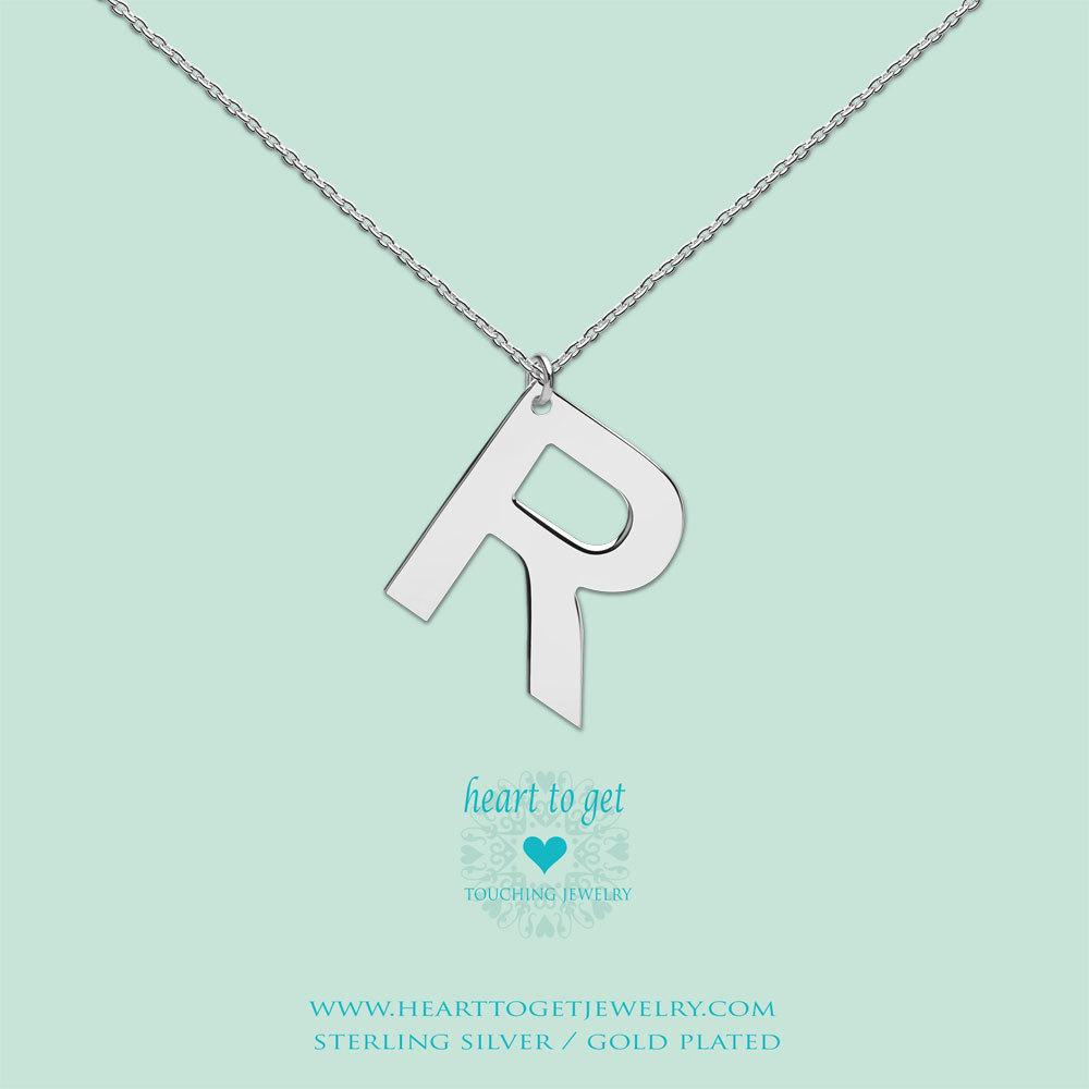 Heart to get LB159INR16S Ketting met hanger Letter R 40-48 cm zilver