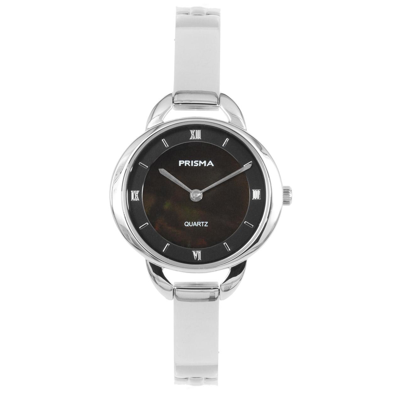 Prisma P.1466 Horloge staal/parelmoer zilverkleurig-zwart 30 mm