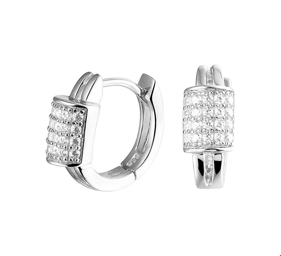 The Jewelry Collection Klapcreolen Zirkonia - Zilver Gerhodineerd