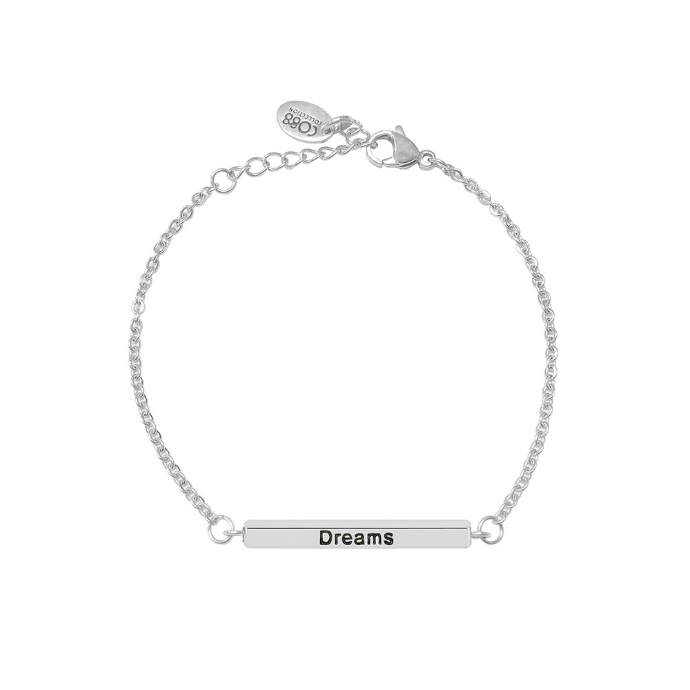 CO88 Armband Staal Dream, Love, Laugh zilverkleurig 17-20 cm 8CB-19006