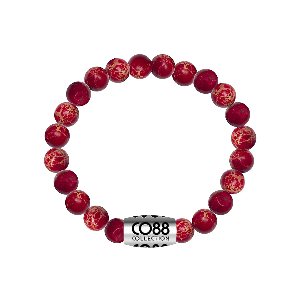 CO88 Armband met logobead staal/sediment/rood, rek/all-size 8CB-17027