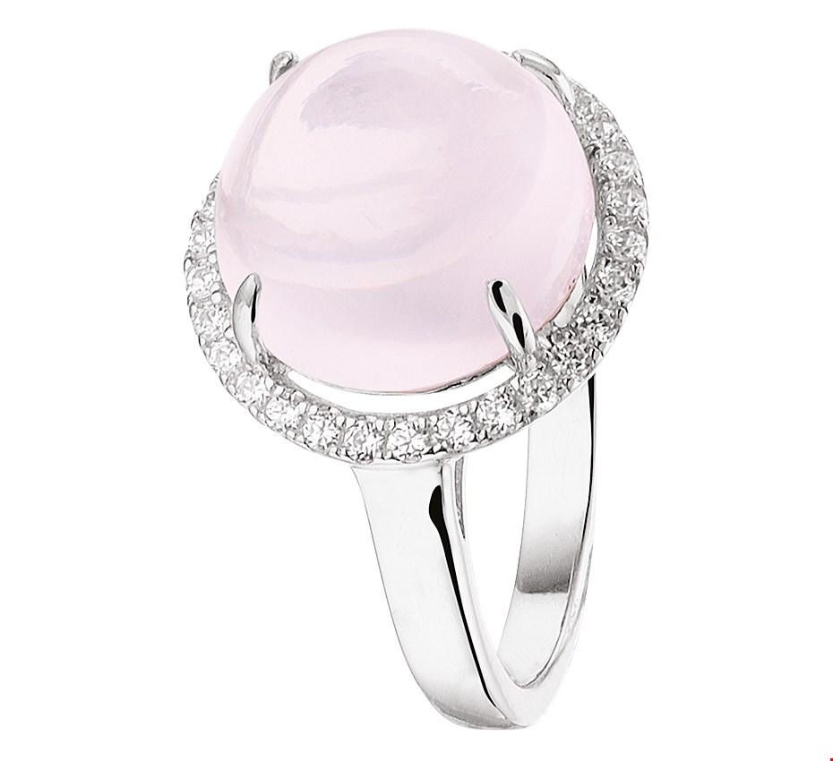 TFT Ring Roze Kwarts En Zirkonia Zilver Gerhodineerd