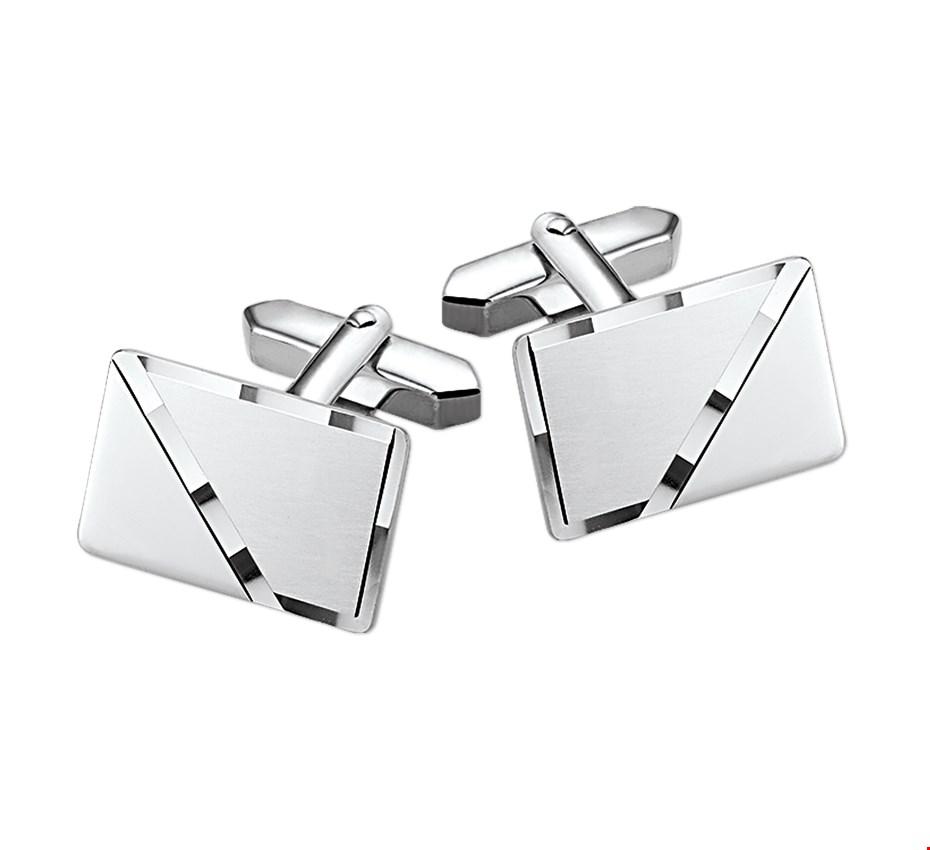 TFT Manchetknopen Poli/mat Gediamanteerd Zilver 20,0 mm x 13,0 mm