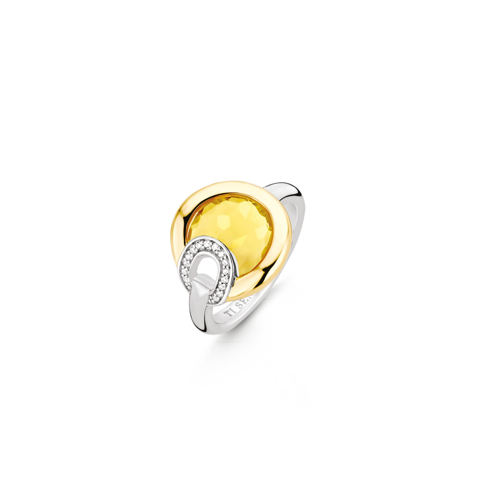 TI SENTO Milano Ring 12159TY Zilver gold plated Maat 62