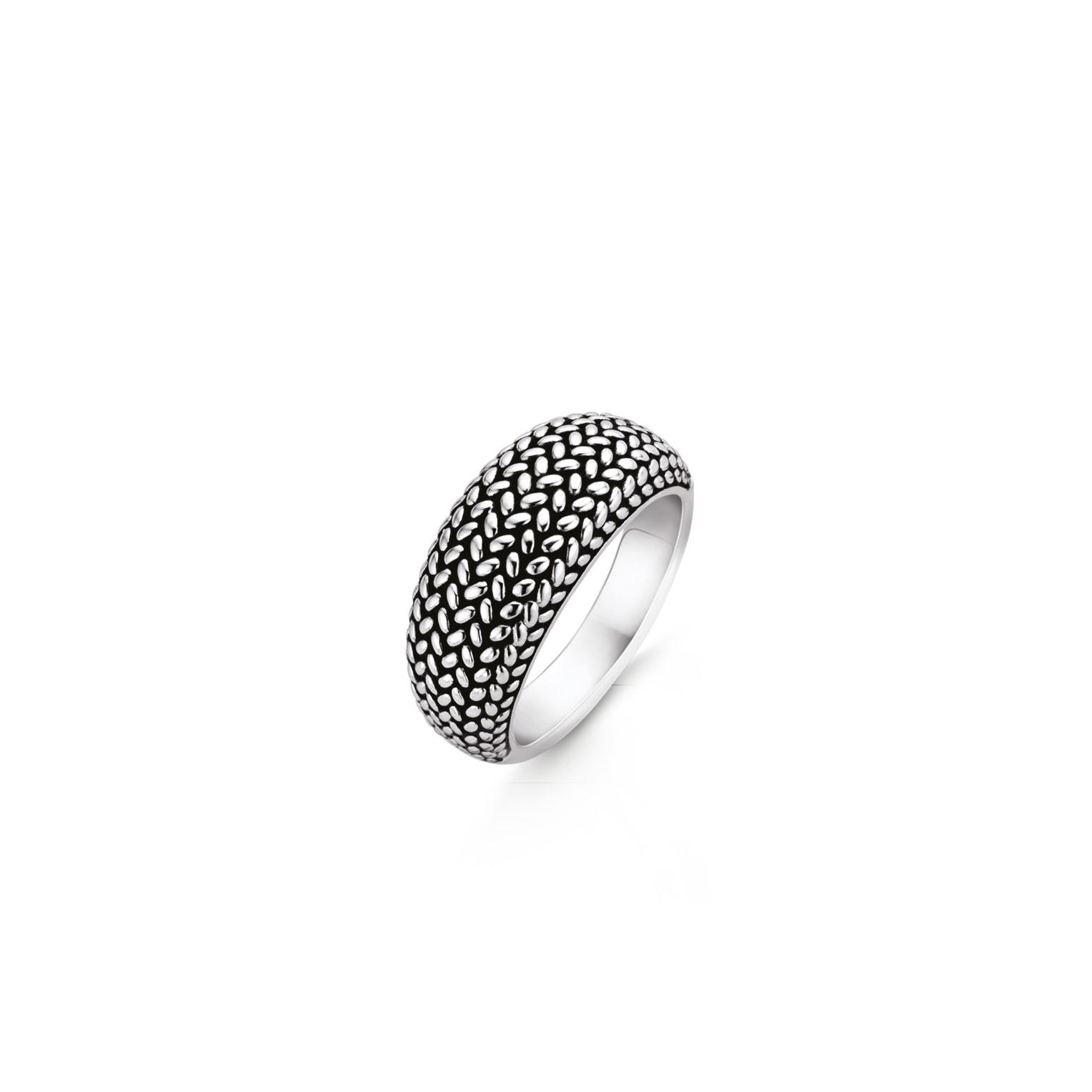 TI SENTO Milano Ring 12161SI Zilver met een zwarte plating Maat 58