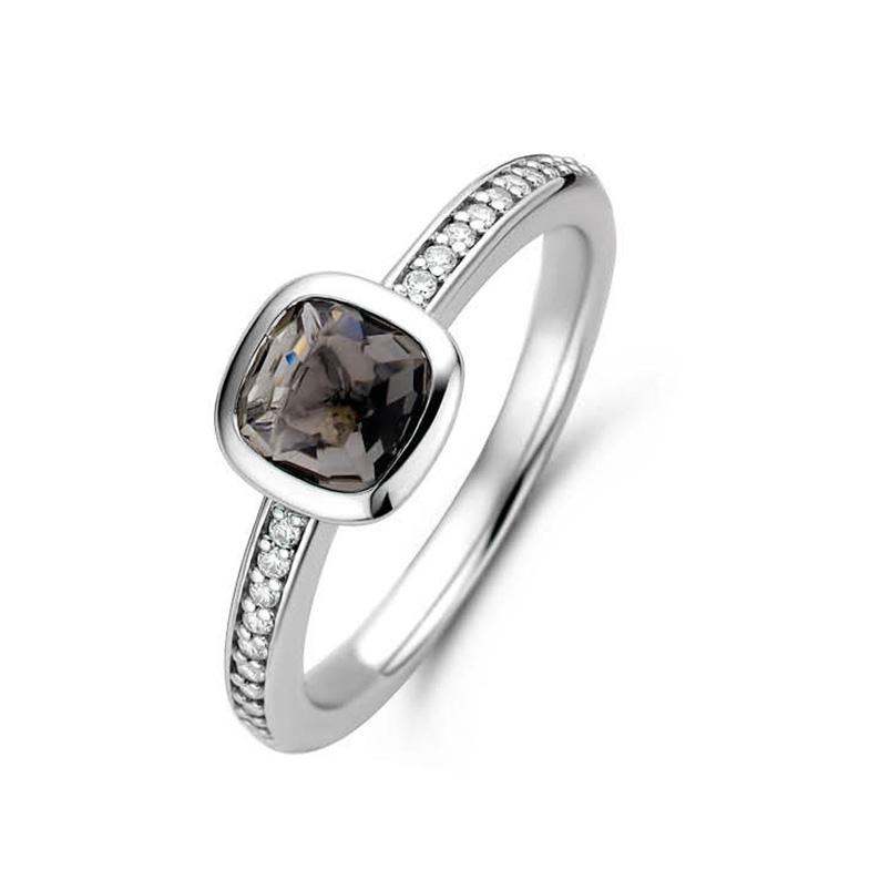 TI SENTO-Milano 12176GB Ring met zirconia zilver/grijsblauw Maat 52