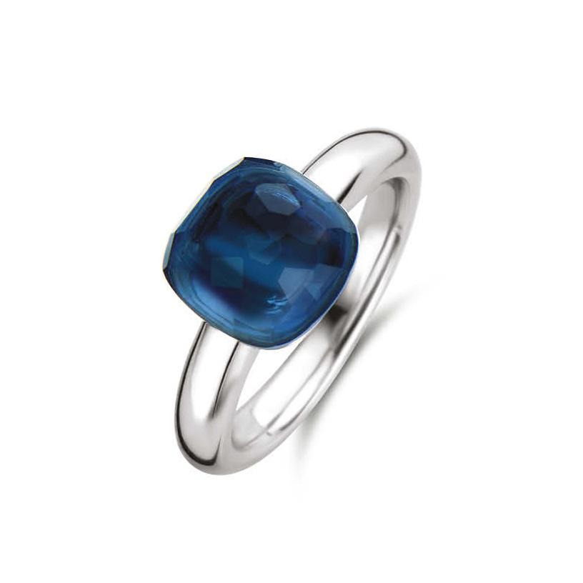 TI SENTO Milano 12187DB Ring zilver kristal donkerblauw Maat 62