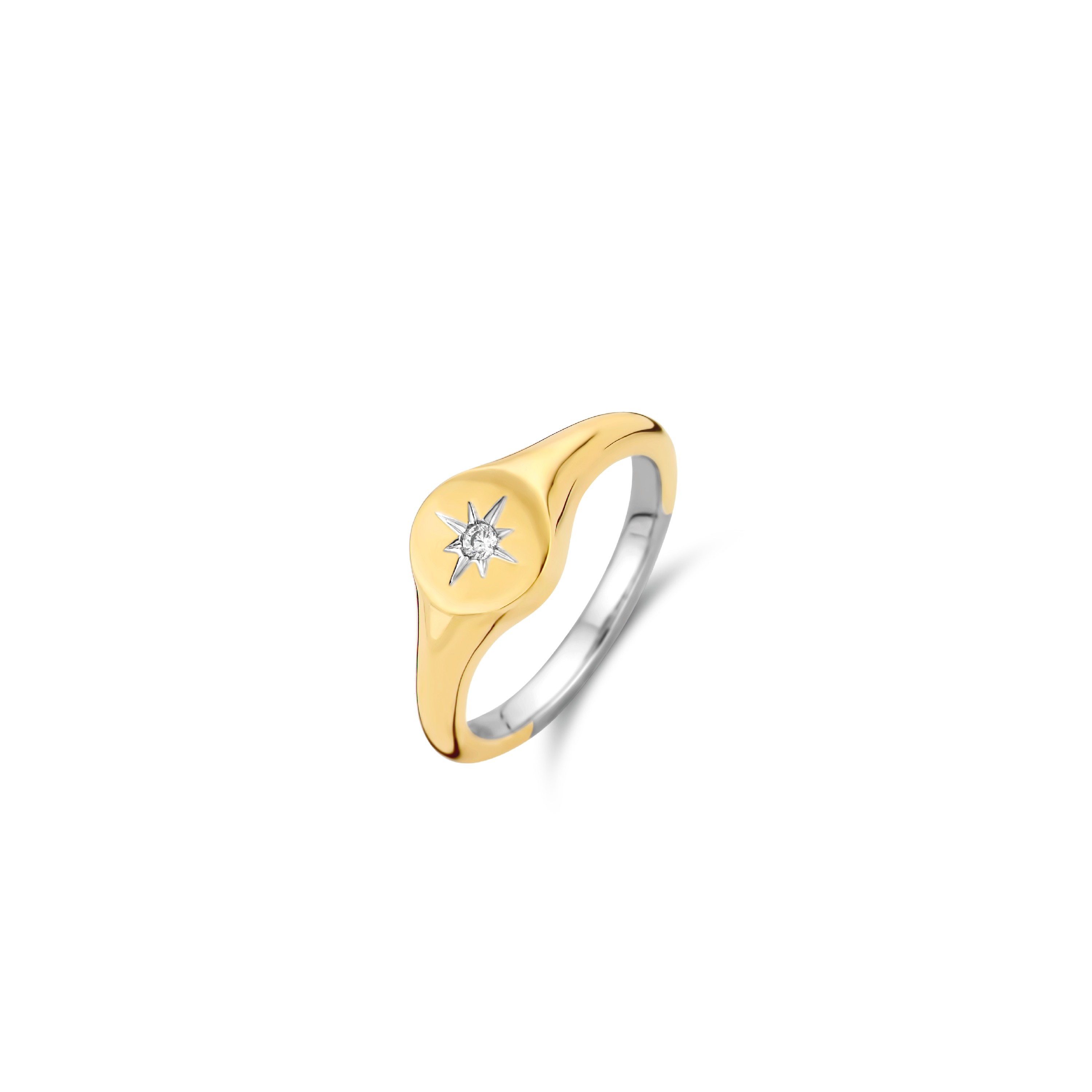 TI SENTO Milano Ring 12199ZY Zilver gold plated Maat 58