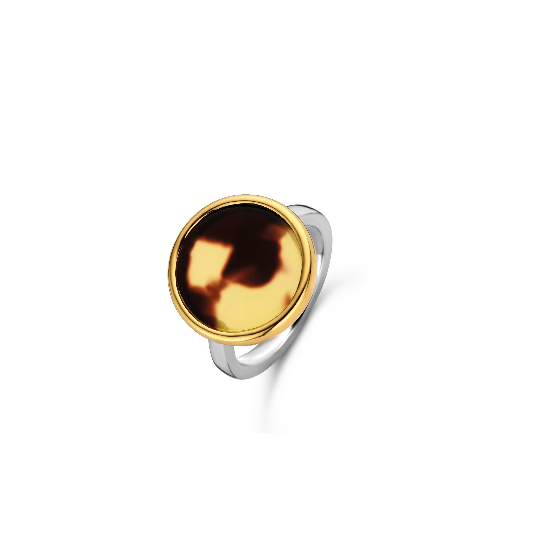 TI SENTO Milano Ring 12208TU Zilver gold plated Maat 54