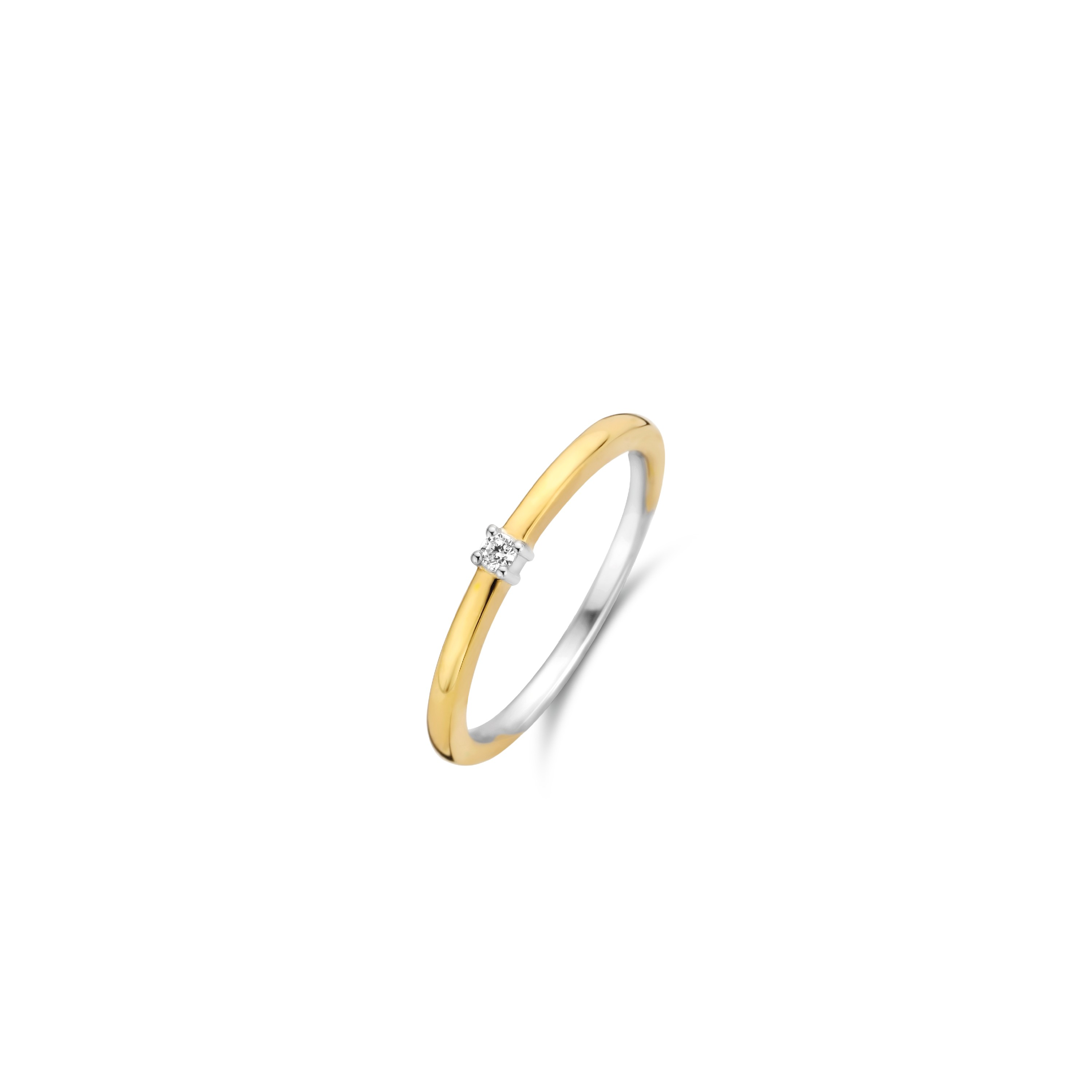 TI SENTO Milano Ring 12210ZY Zilver gold plated Maat 48