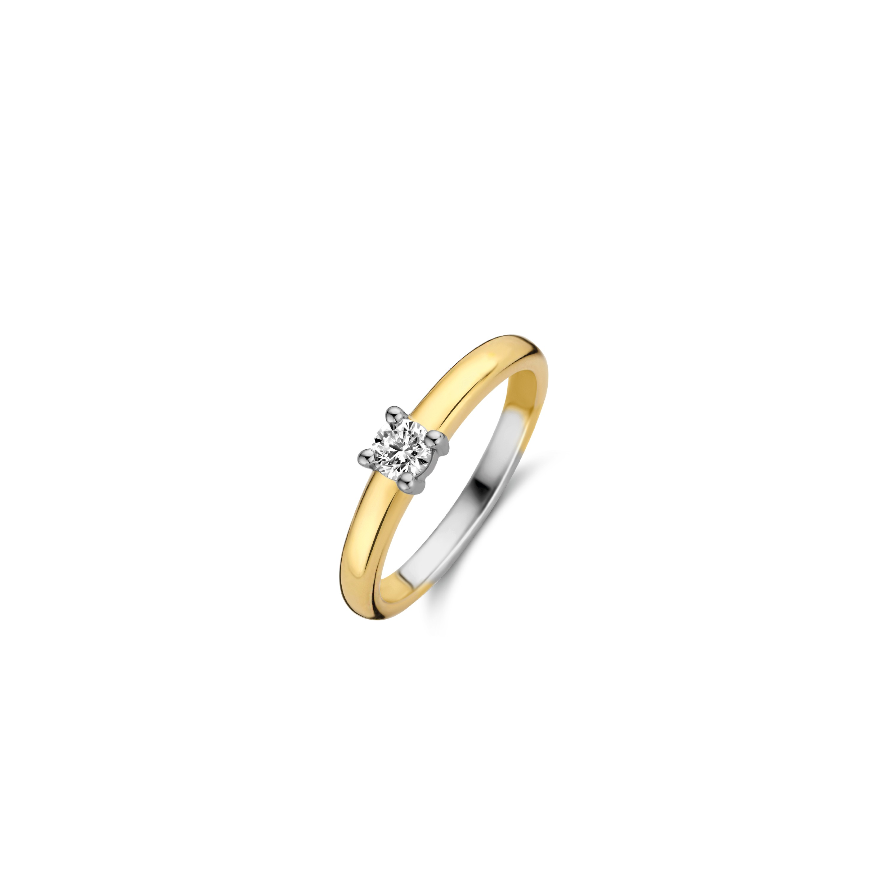TI SENTO Milano Ring 12212ZY Zilver gold plated Maat 62