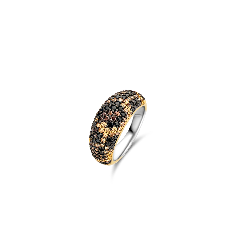 TI SENTO Milano Ring 12214TU Zilver gold plated Maat 52