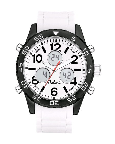Colori Horloge 'Digital Sports' 49 mm wit 5-CLD007