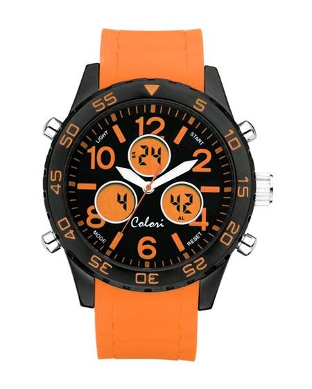 Colori Horloge 'Digital Sport'49 mm oranje 5-CLD008