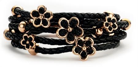 New Bling armband staal-leder zwart-rosekleurig bloemen 9802101161