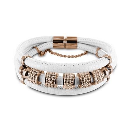 New Bling armband staal-leder wit-rosekleurig 980101430