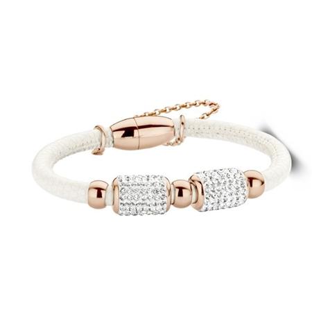 New Bling armband staal-leder wit-rosekleurig 980101422