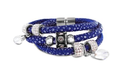 New Bling armband staal-leder blauw-zilverkleurig 980101579