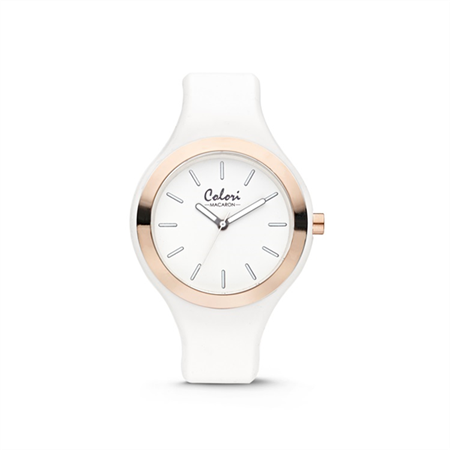 Colori Horloge Macaron staal/siliconen wit-rosekleurig 44 mm 5-COL430