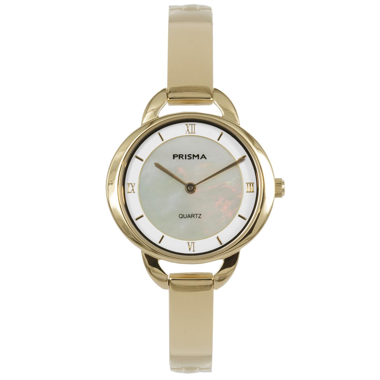 Prisma P.1467 Horloge staal/parelmoer goudkleurig 30 mm