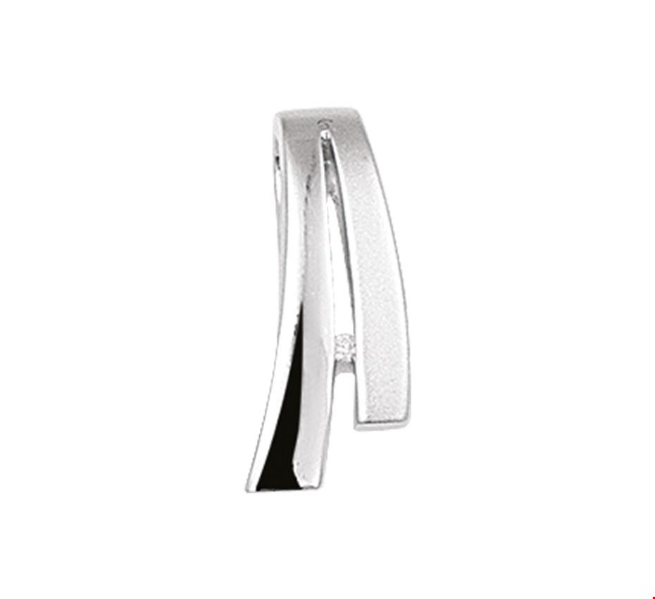 TFT Hanger Zilver gerhodineerd Diamant 0.007 Ct. Poli mat 17,5 x 8 mm