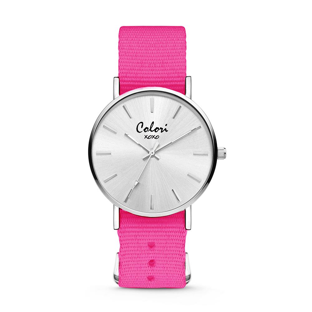 Colori XOXO 5 COL561 Horloge geschenkset met Armband - Nato Band - Ø 36 mm - Donker Roze - Zilverkl