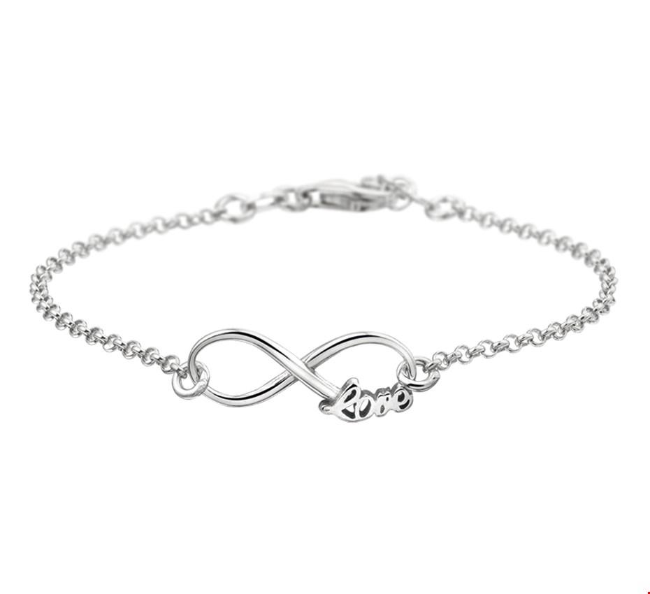 TFT Armband Zilver Infinity En Tekst Love 2,0 mm 17 + 2 cm