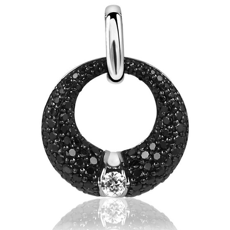 Zinzi ZIH1016Z Hanger Rond zilver-zirconia zwart-wit 21 mm