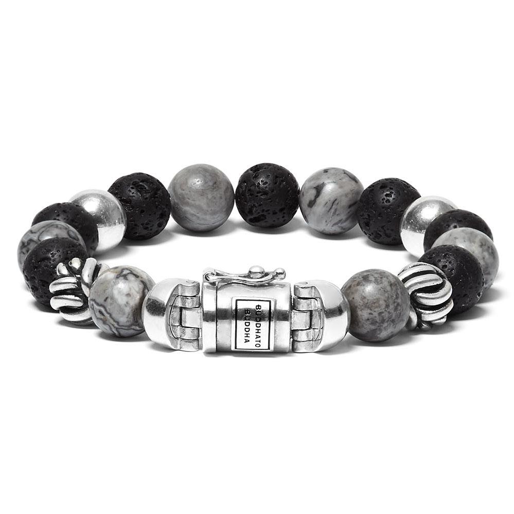 Buddha to Buddha 188MG Armband Spirit Bead Mix Grey Picasso Jasper (G) 23 cm