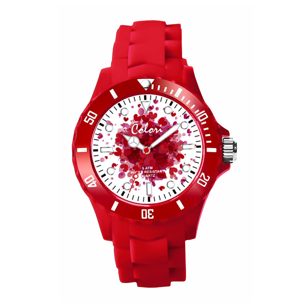 Colori Love 5 COL539 Horloge - Siliconen Band - Ø 40 mm - Rood