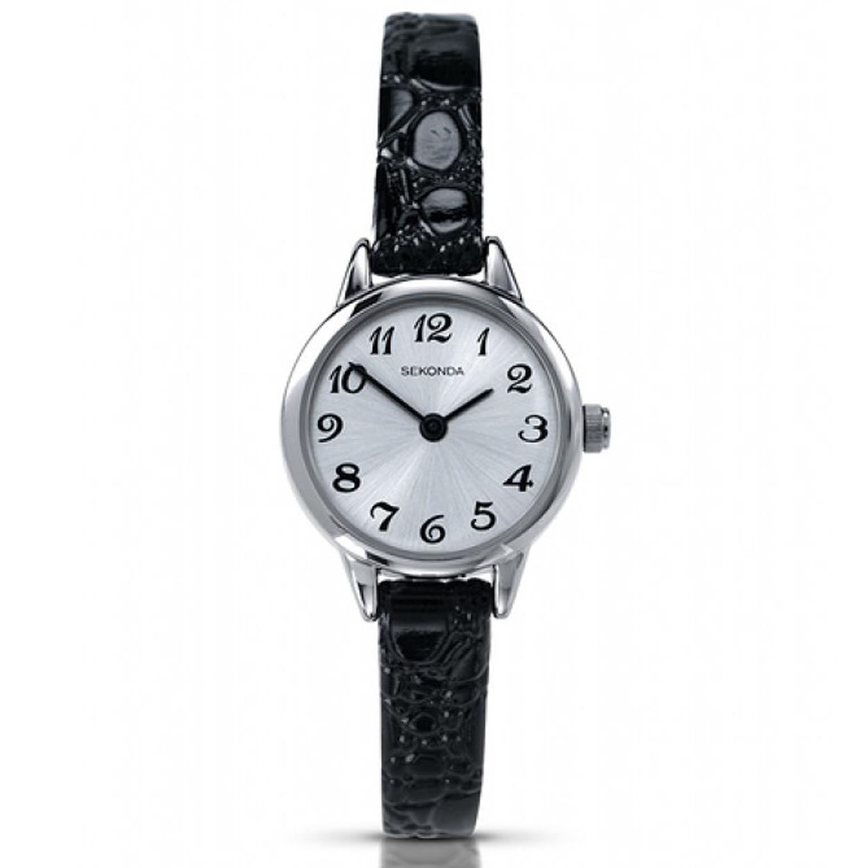 Sekonda Abstract dames horloge met lederen horlogeband zwart