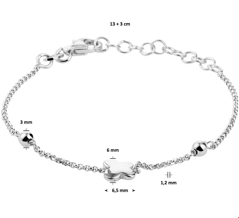 TFT Armband Zilver Vlinder 1,2 mm 13 3 cm