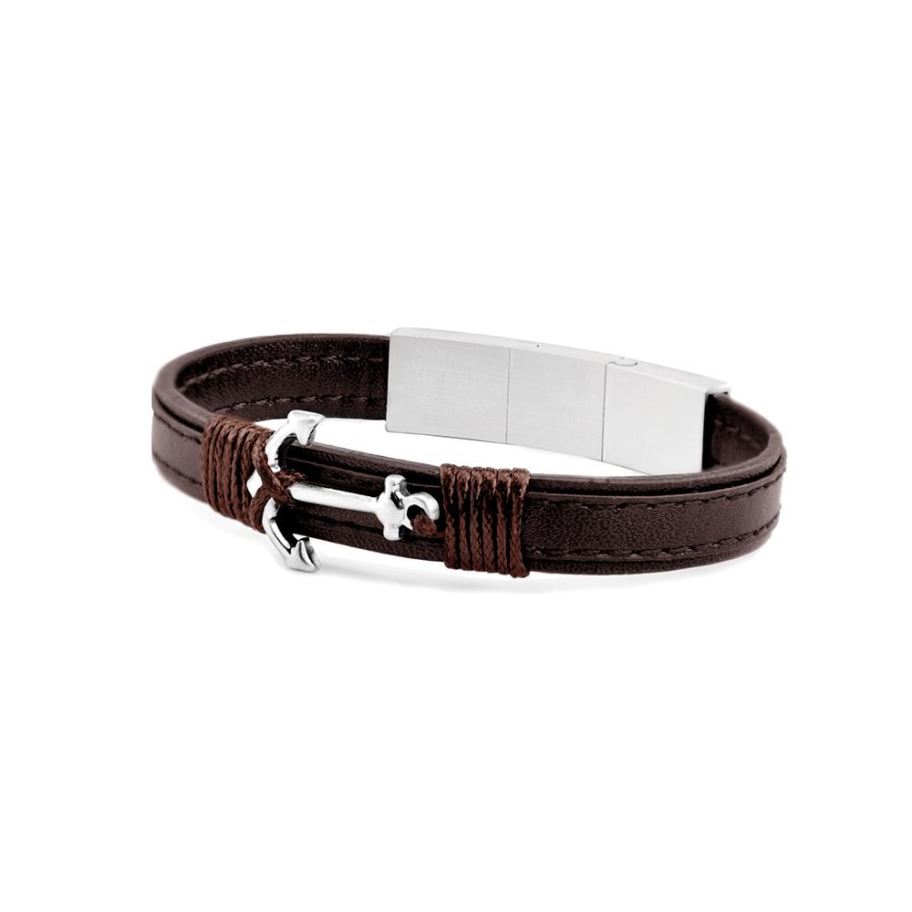 Frank 1967 Leather 7FB 0351 Leren Armband met Anker 21 cm Bruin