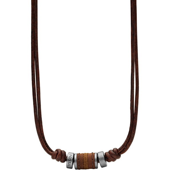 Fossil JF00899797 Ketting Vintage Casual staal leder 45 50 cm