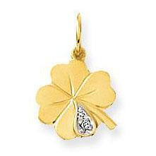 Glow Gouden Hanger/Bedel Klaver-4 Geluk met briljant 230.0036.00
